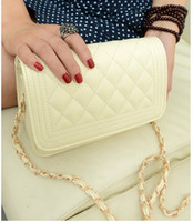Wholesale Hot Small Chain Quilted Shoulder Cross Body Bag Pure Beige Black White Color