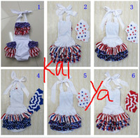 Wholesale Booking summer Baby girl th of July Ruffle Bottom rompers Baby Sunsuit baby Red White and Blue bodysuits kids th of July Outfit