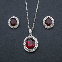 Wholesale Statement k gold plated earringse necklace set with Simulated Ruby pendant designer fashion new women jewelry