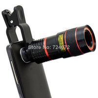 Wholesale Universal x Zoom Optical Lens Mobile Phone Telescope For iPhone Sumsung HTC Universal Clip Eightfold Magnifier with Holder