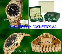 Luxury Mens WATCH Automatic 18K Gold Black Face Diamond Watch 18038 Yellow Gold File Box Certificate