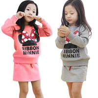 Girl Spring / Autumn Long Girls autumn minnie mouse 2 pieces set, long sleeve hoodies and skirt,kids clothes,children clothing