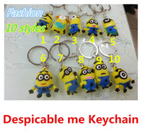 Wholesale Despicable Me Keychain Movie Anime Minions Figure Pendants D Cartoon Car Key Ring Gift With Retail packing