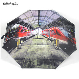 Wholesale fashion automatic London railroad station oil painting umbrella inch travel folding umbrella