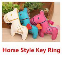 Wholesale Fashion Lovely Leather Horse Style Key Rings cute horse design keychain