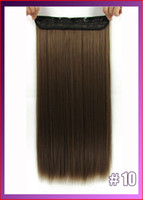 Wholesale 24 quot cm g straiht clip in hair extensions hairpiece hair pieces accessories color medium ginger brown