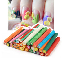 Decal 2D Metal Wholesale-30 pcs cane polymer clay nail art Stickers 3D fruit and flower Cutted rolls stamp decal tip cute printer DIY free shipping