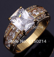 Wholesale Very Hot Fashion Jewelry Super Size8 Man s Fantastic White Sapphire Cz18K Yellow Gold Filled Wedding Ring Gift