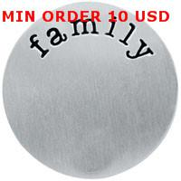 Charms Slides, Sliders Circle 22mm stainless steel silver family plate for 30mm memory glass large living floating locket