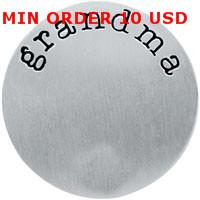 Charms Slides, Sliders Circle 22mm stainless steel silver grandma plate for 30mm memory glass large living floating locket