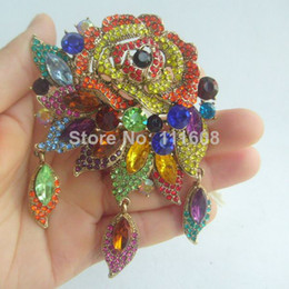 """3.94"""" Fashion Costume Jewelry Gorgeous Multicolor Rhinestone Crystal Rose Flower Brooch Pin EE06454C6"""