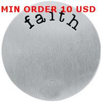Charms Slides, Sliders Circle faith stainless steel floating plate for 30mm memory glass living locket
