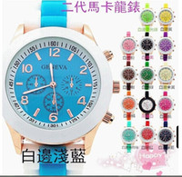 Fashion ice watches - Popular Shadow Style Geneva Wristwatch Rubber Candy Jelly Fashion Ice Cream Spell Color Quartz Watches For Women Best Gift