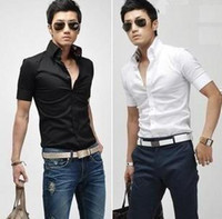 Men Cotton  Spandex Short Sleeve 2014 new summer men's clothing fashion silk fabric after short-sleeve shirt trigonometric mens dress shirts