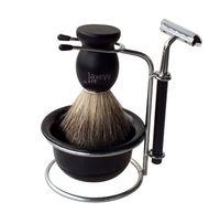 wood shaving brush - Men s Pure badger hair shaving set shaving kit man s brush badger shave set black shaving kit