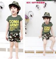 Boy Summer  2014 new boy Camouflage suit t shirt+pant 2 peice suit