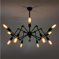 Halogen chandelier - Spider Chandelier Vintage Wrought iron Pendant lamp Loft American Style Lighting Fixture lights PL156