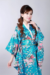 Wholesale Summer new sale Vintage dress Japanese Women s Silk Satin Kimono Yukata Evening Dress Flower Free Size color H0044