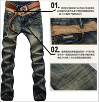 Wholesale NEW dark color ripped men jeans new fashion designer famous brand denim large size