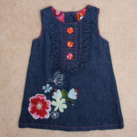 Wholesale 2014 New Fashion Summer Kids Child Girl Baby Sleeveless Party Button Letter Flower Butterfly Embroidery Denim Jeans Dress H0140625