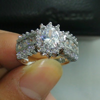 Wholesale Size Luxurious jewelry kt white gold filled white topaz wedding Ring for love gift