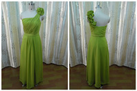 Real Photos Hand Made Flower Sleeveless Real Samples One-shoulder With Handmade Flowers Embellishment Floor Length Empire Waist Lime Green Bridesmaid Dresses Chiffon Wedding Gowns