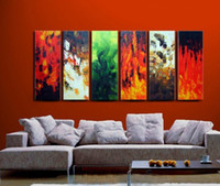 Wholesale 5 Panels Modern Wall fire Paintings warm colors picture wall art oil Painting home decor Art Picture Canvas xzz129