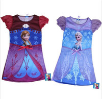 Wholesale 2014 new arrival children summer clothes girls girl Anna Elsa Frozen short sleeve princess dress summer fashion dresses A197
