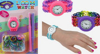 Wholesale 2014 Newest DIY Knitting Braided loom Watch Rainbow Loom Rubber Bands Kits Silicone Watch Bracelet DIY Loom Watch Watch Bands Clips Hook