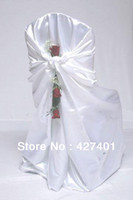 Wholesale Hot Sale White Bag Self Tie Satin Chair Cover Universal Satin Chair Cover For Wedding
