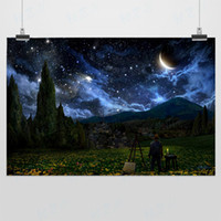 One Panel Digital printing Classical Light Art Drawings Vincent Van Gogh Modern DIY Realistic Dark Blue Starry Night Sky Digital Picture Poster Prints Wall Decor Canvas Painting