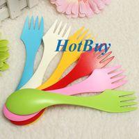 Wholesale Spoon Fork Knife Camping Hiking Utensils Spork Combo Gadget Cutlery Travel set