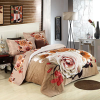 Polyester / Cotton Cotton Adult Female flower wedding 4pc 3D bedding set Quilt Duvet cover bedsheet sets queen size 3d bed linen sets Luxury 3d bedcover set