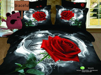 100% Cotton Cotton Twill Free Shipping 3D Rose Oil Painting Series Bedding Sets Full Queen 4PCS Pure Cotton Reactive Printed Red Rose Comforter Set