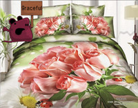 100% Cotton Cotton Twill Free Shipping 3D Rose Oil Painting Series Bedding Sets Full Queen 4PCS Pure Cotton Rose Reactive Printed China Bed Linen Rose