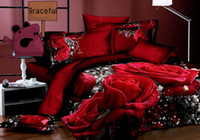 100% Cotton Cotton Twill Free Shipping 3D Oil Painting Rose Series Bedding Sets Full Queen 4PCS Pure Cotton Reactive Printed Rose Comforter Sets