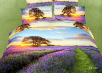 Wholesale D Oil Painting Bedding Sets Full Queen Pure Cotton Reactive Printed D Lavender Bedding Sets