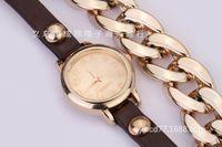 Wholesale The new woman gold table alloy chain rivet bracelet watch watch bracelet watches fashion accessories