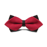 Wholesale Tuxedo Wedding PreTied Knit Bow Tie Woven Adjustable Neck Strap Red