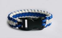 Wholesale 50Pcs Blue White Paracord Bracelet Outdoor Bracelet With Plastic Button Survival Escape Life saving Bracelet For Men Women Handmade