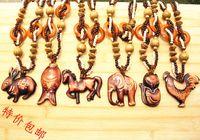 Wholesale New Vintage Wooden Necklace elephants horses rabbits foxes fish animal pendant necklaces Stylish sweater chain women