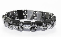 Unisex wholesale magnetic hematite beads - 20pcs Fashion Black Magnetic Hematite Therapy Arthritis Beads Bracelet for men women
