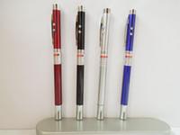 No led flashlight pen - DHL shipping in1 LED flashlight Laser pointer Antenna Promotional Metal Pen ball point pen for Teaching Presentation Gift