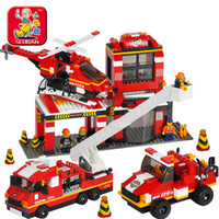 Wooden SLUBAN / small Luban M38-B022 ... SLUBAN / small Luban Small Luban plastic building blocks assembled toy fire truck police series command vehicle fire Story