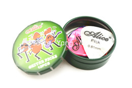 Green Small Round Metal Pick Holder Case With 12pcs Pearl Celluloid Guitar Picks Free Shipping