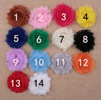 Wholesale 2 quot Chic Frayed Shabby Flower Shabby Chiffon Flower Mini Shabby Flowers Shabby Rosette Flowers DIY Baby Girls Hair Accessories