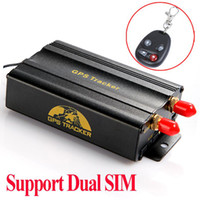 Wholesale Dual SIM card Port GPRS GSM Vehicle Car GPS Tracker Remote Control Real time Tracking Alarm System Google Map TK103B