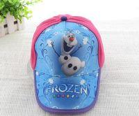 Wholesale 2014 children accessories cartoon baseball hats Frozen Olaf pattern girls peaked cap kids summer lovely sunbonnet