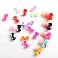 Black Round Rhinestone & Decoration 100 PCS Colorful Acrylic 3D Bow Tie Slice for UV Gel Nail Art DIY Tip Decoration