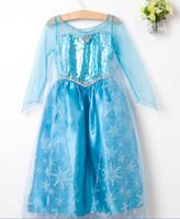 TuTu Summer Pleated Kids princess elsa and Anna Frozen dress costume dress in frozen